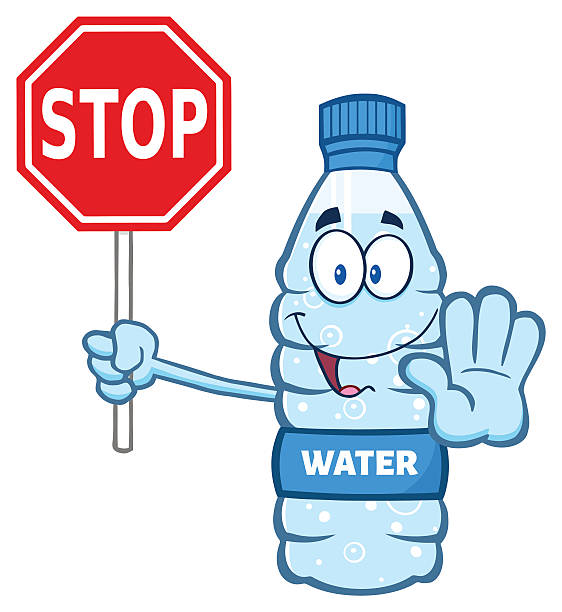 Royalty Free Cartoon Water Bottle With Stop Sign Clip Art ...