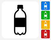 Water Bottle Icon. This 100% royalty free vector illustration features the main icon pictured in black inside a white square. The alternative color options in blue, green, yellow and red are on the right of the icon and are arranged in a vertical column.