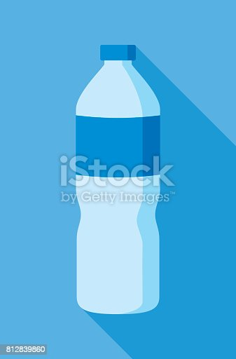 Vector illustration of a water bottle against a blue background in flat style.