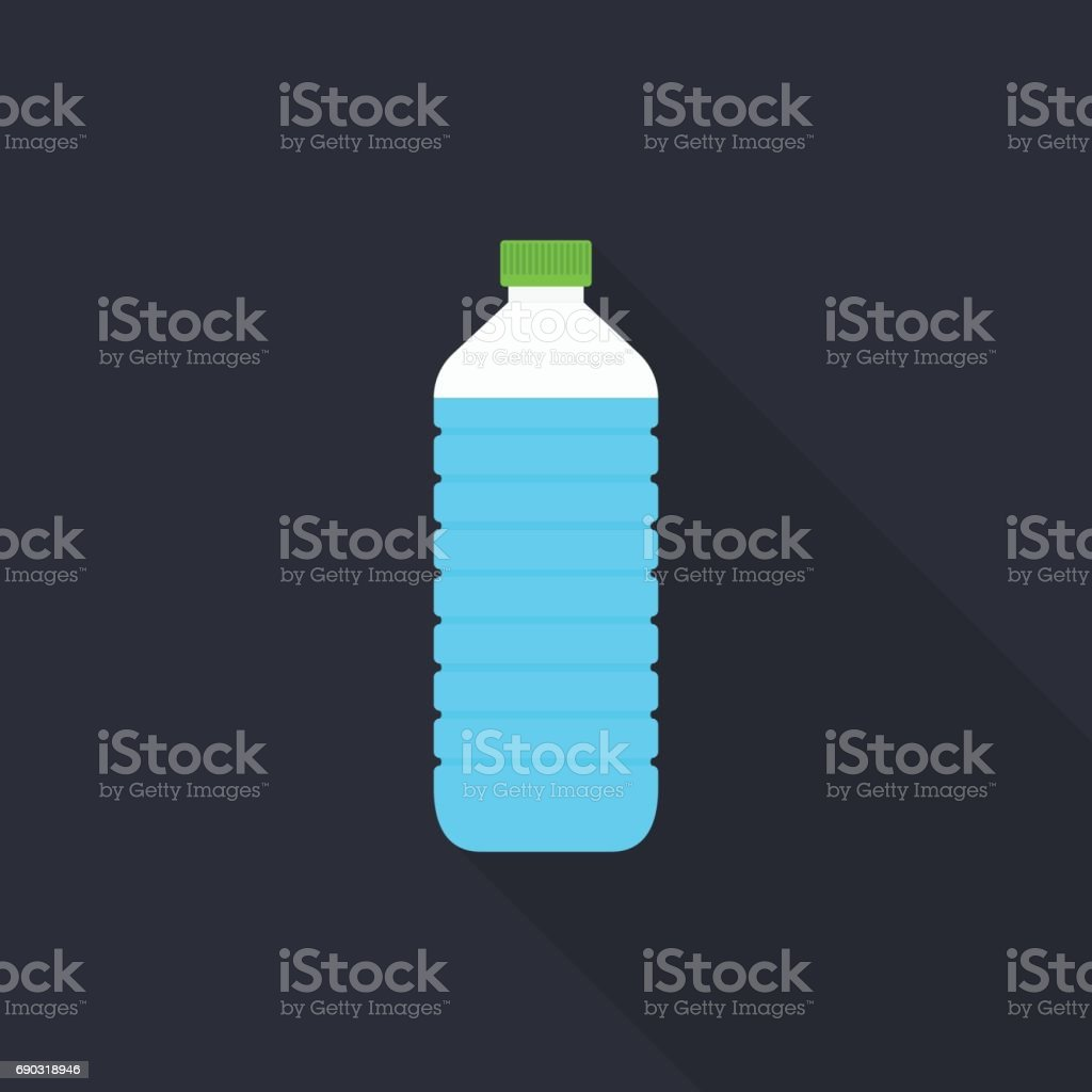 Water bottle icon with long shadow on gray background, flat design style vector art illustration