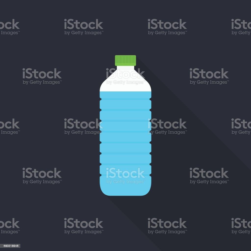 Icono de la botella de agua con larga sombra sobre fondo gris, estilo de diseño plano - ilustración de arte vectorial