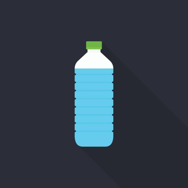 灰色の背景は、フラットなデザイン スタイルに長い影と水のボトル アイコン - ペットボトル点のイラスト素材/クリップアート素材/マンガ素材/アイコン素材