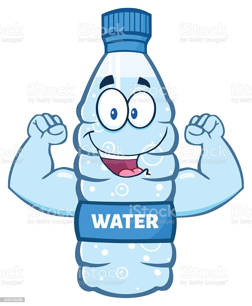 Water Bottle Showing Muscle Arms stock vector art ...
