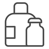Water bottles line icon. Medical packaging container for liquid. Plastic products design concept, outline style pictogram on white background, use for web and app. Eps 10