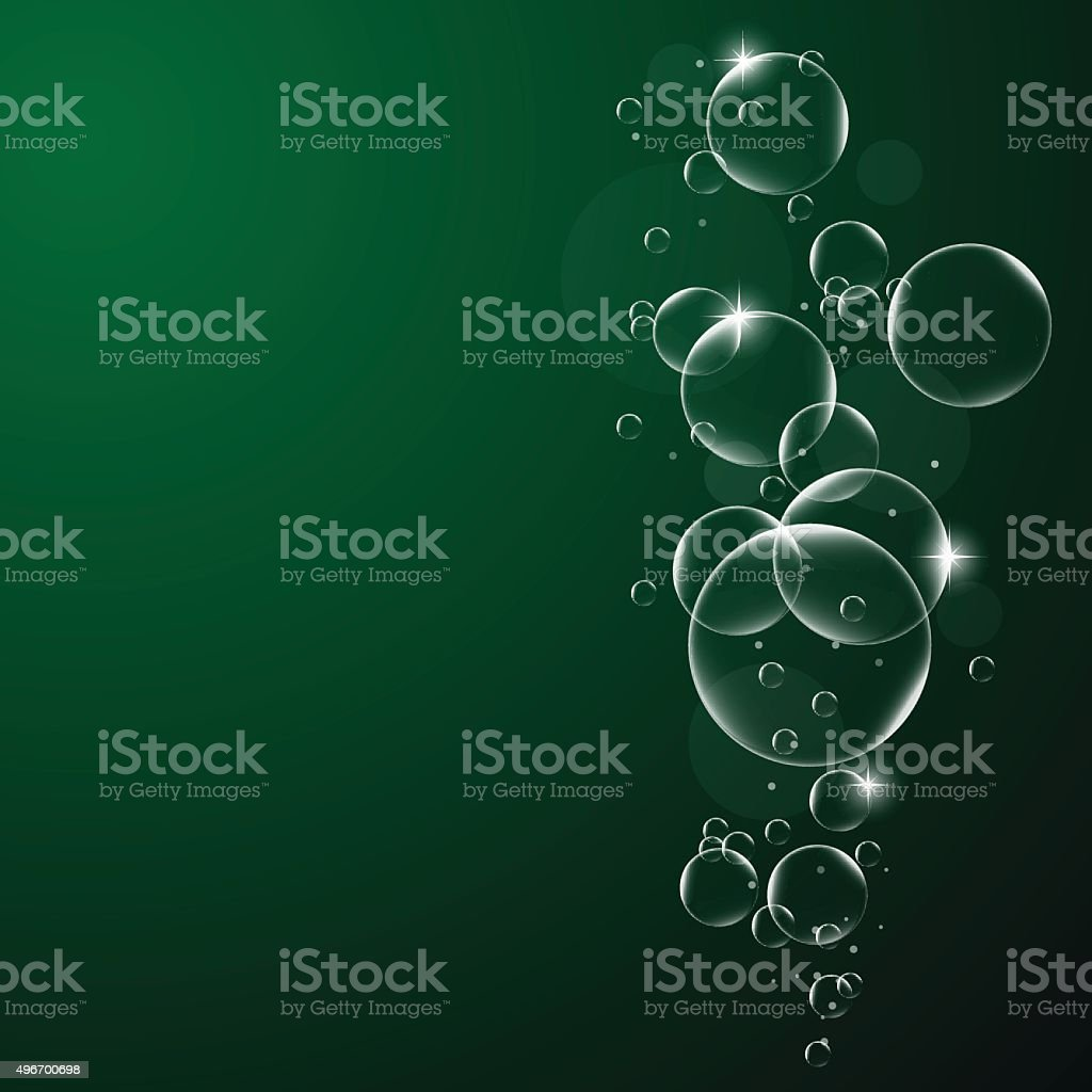 Acqua Bolle Su Sfondo Verde E Nero Sfondo Eps10 Illustrazione
