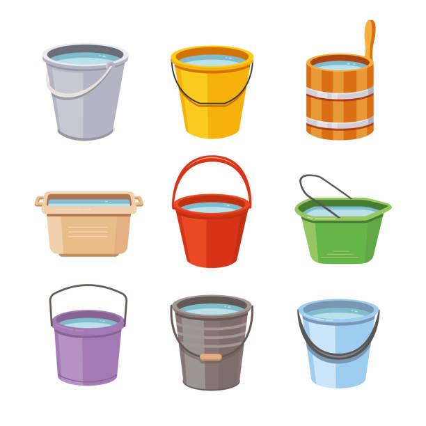 stockillustraties, clipart, cartoons en iconen met water emmers set. metalen emmer, leeg en volledige plastic tuin emmer geïsoleerd vector illustratie pictogrammen - emmer