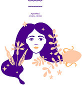 Water carrier to Aquarius of zodiac, horoscope concept, vector art, illustration. Beautiful girl silhouette. Astrological sign as a beautiful women. Future telling, horoscope, alchemy, spirituality