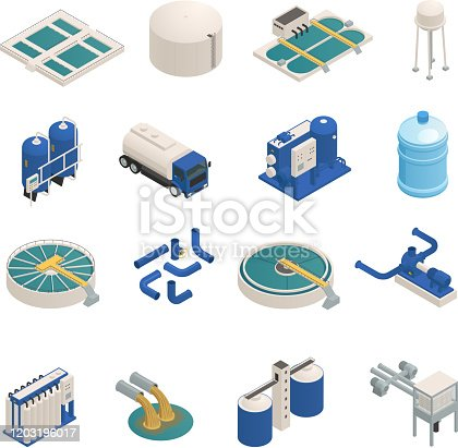 Water purification technology elements isometric icons collection with wastewater cleaning filtration and pumping units isolated vector illustration