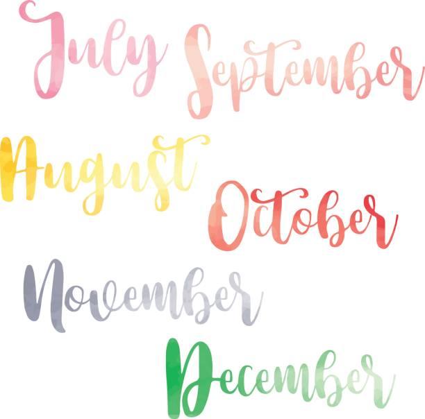 Water color brush handwritten hand lettering names of months vector art illustration