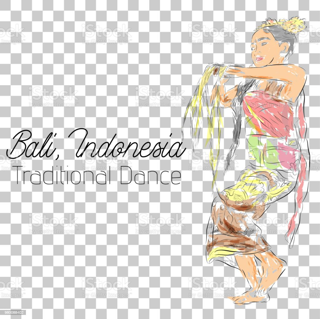 water color sketch, young girl traditional bali indonesia traditional dancer in action at transparent effect background vector art illustration