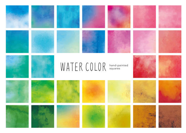 Water color square icons Water color square icons watercolor painting stock illustrations