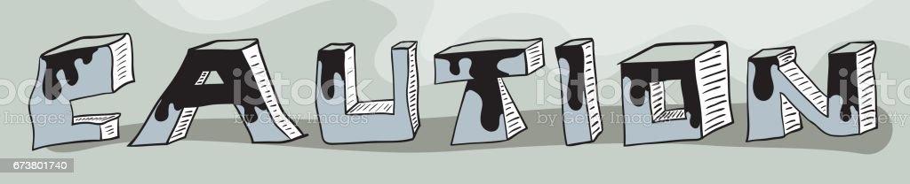 Panneau avertisseur des lettres de bloc 3D couleur avec dégoulinant de peinture au bord de l'eau panneau avertisseur des lettres de bloc 3d couleur avec dégoulinant de peinture au bord de leau – cliparts vectoriels et plus d'images de danger libre de droits