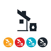 An icon of a house with a water barrel at the end of the roofline to symbolize water conservation collection.