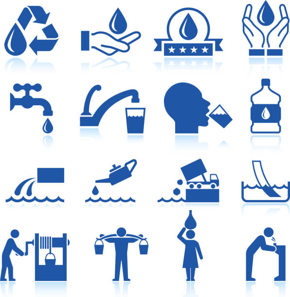 water conservation royalty free vector icon set - tap water stock illustrations