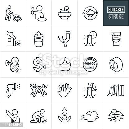 A set of water conservation icons that include editable strokes or outlines using the EPS vector file. The icons include water conservation efforts of raising the height of your lawnmower, conserving water while brushing teeth, filling sink with water, recycling rain water, rain water harvesting, glass of water, leaky sink, using a timer on sprinklers to water grass, water-saving toilet, timing shower usage and include icons of a lake, drought, dam, high five, thumbs up, water meter, and timer to illustrate the concept of water conservation.