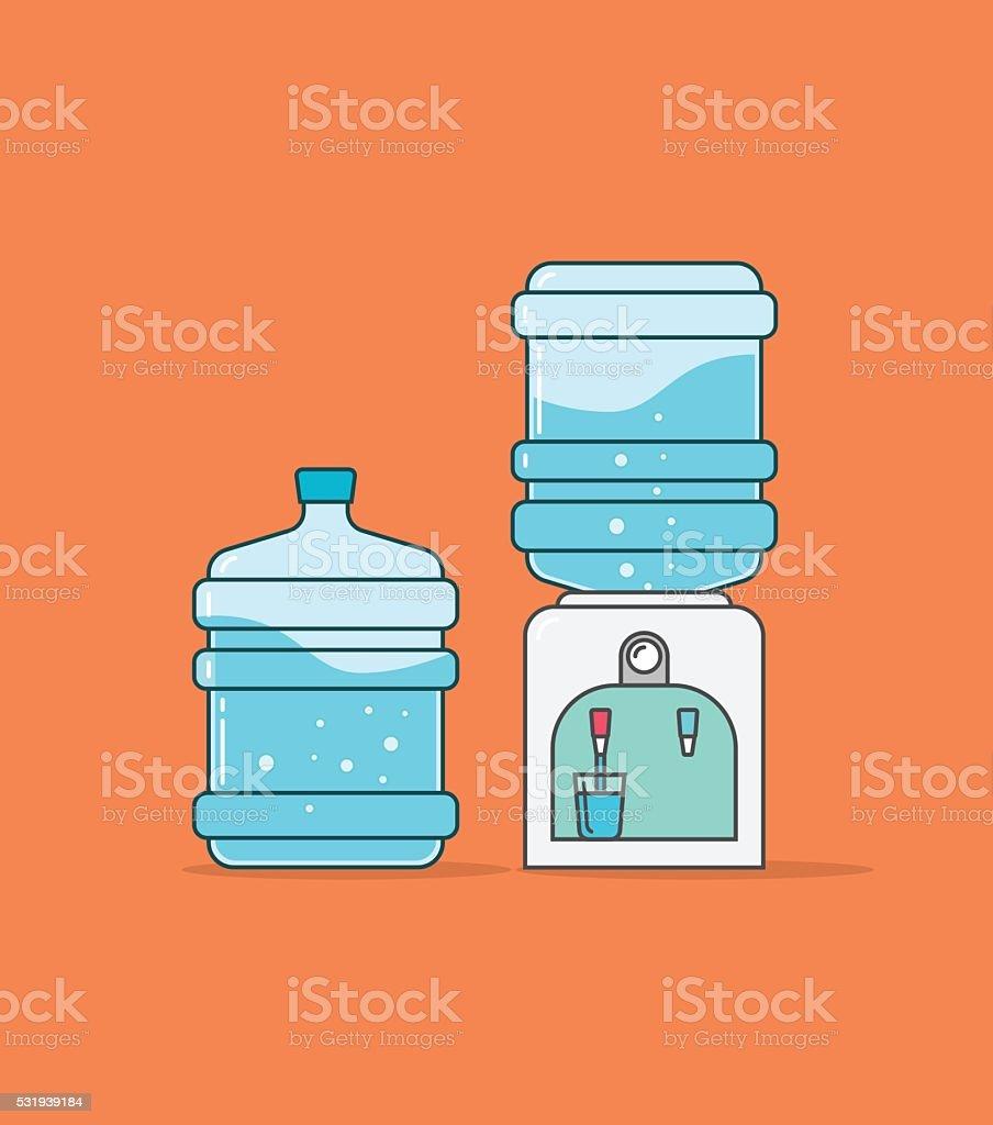 Water cooler dispenser vector illustration, full bottle of aqua wave vector art illustration