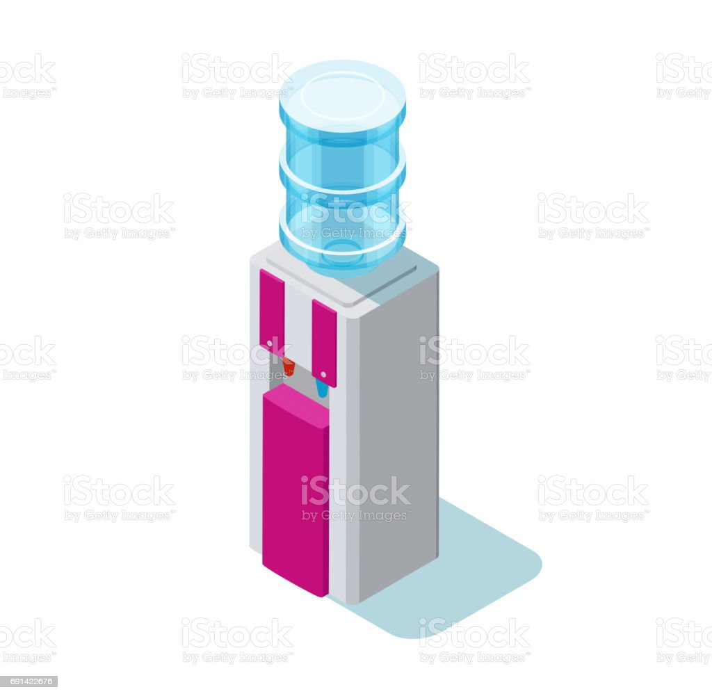 Water cooler isometric vector illustration with water dispenser vector art illustration