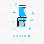 Water cooler thin line icon. Modern vector illustration of office equipment.