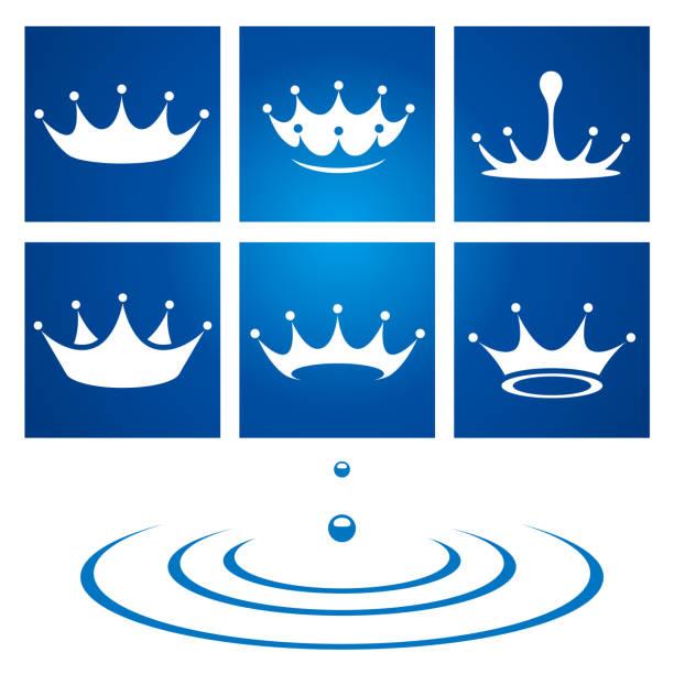 Water crown drop icon vector art illustration