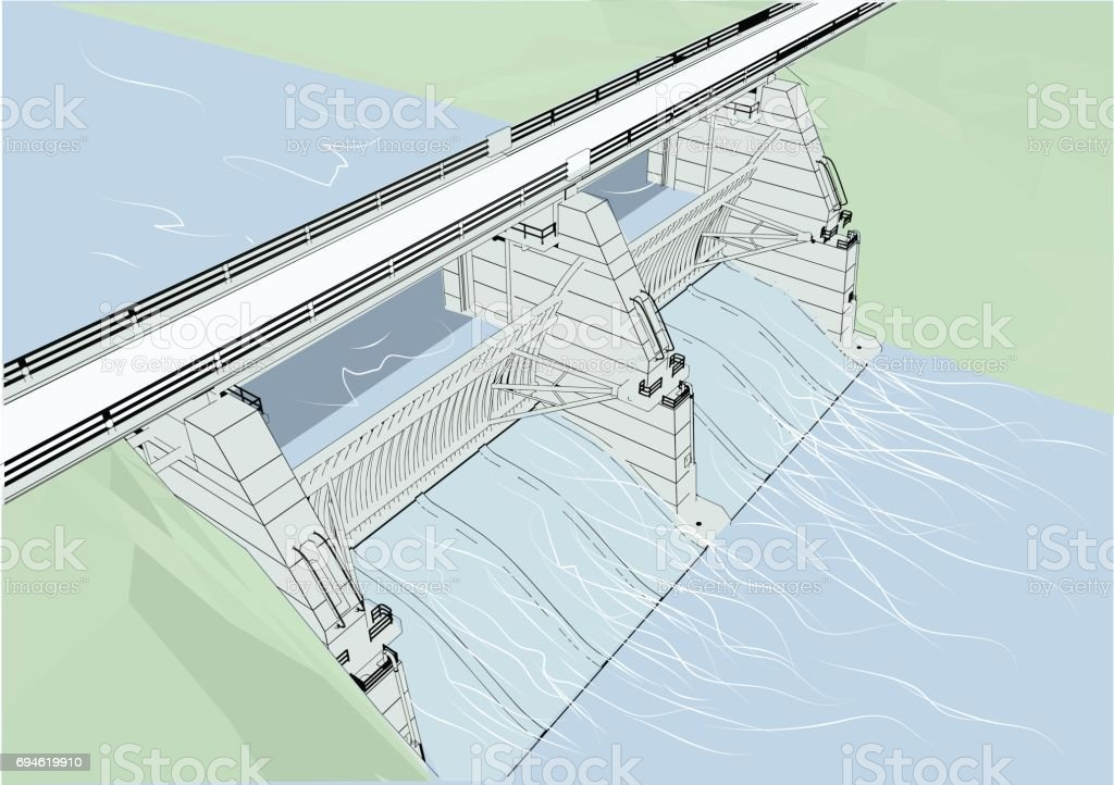 water dam vector art illustration