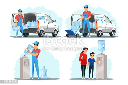 Water delivery service flat illustration set. Courier carrying purified drinkable liquid bottle. Child drinking clean water from cooler. Man loading filtered fluid gallons in van, delivering order