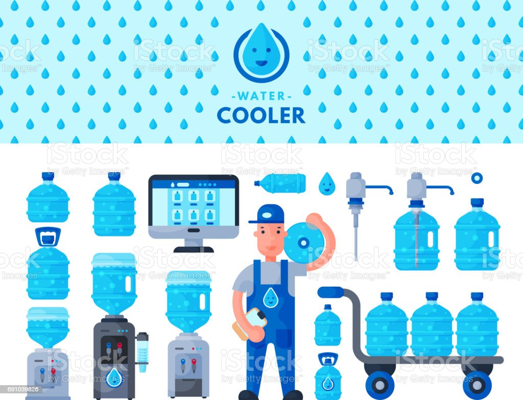 Water delivery service man character in uniform and different water bottle vector elements vector art illustration