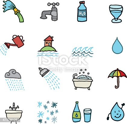 Water doodle icon set