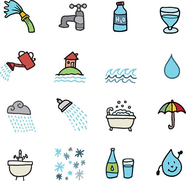 Wasser doodle icon-set – Vektorgrafik