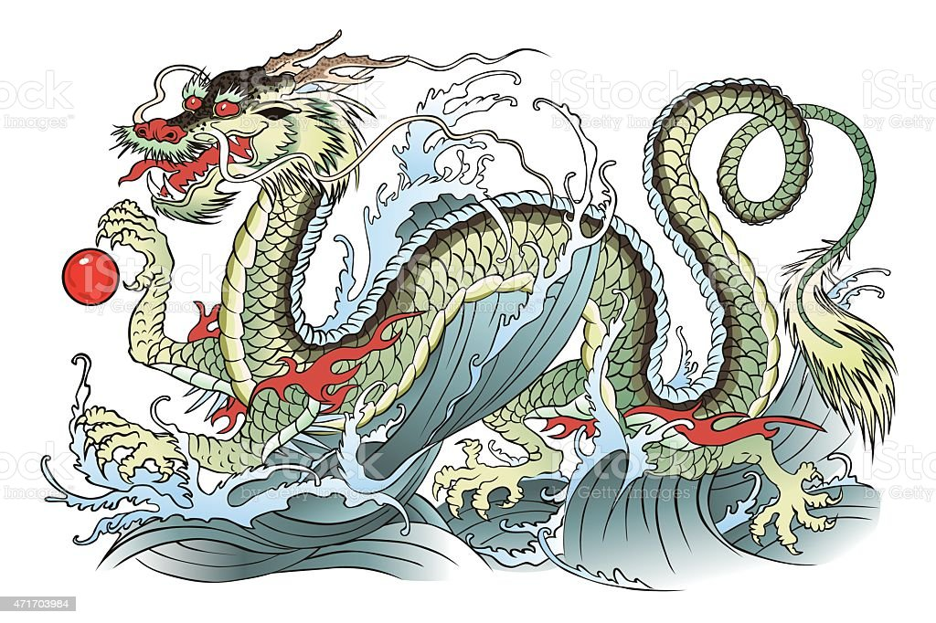 Water dragon Vector illustration of eastern water dragon. 2015 stock vector