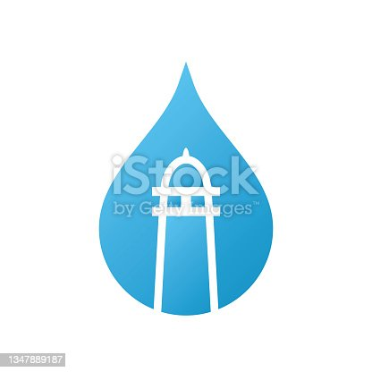 istock Water drop and lighthouse logo template. 1347889187
