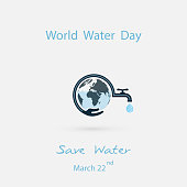 Water drop and water tap with human hand icon.Blue globe &hand icon vector logo design template.World Water Day icon.World Water Day idea campaign concept for greeting card and poster.Vector illustration