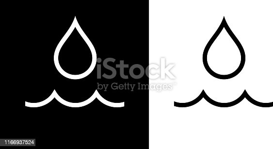 Water Drop and Wave Icon. This 100% royalty free vector illustration is featuring the square button and the main icon is depicted in black and in white with a black icon on it.