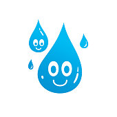 water drop character t-shirt design isolated on white