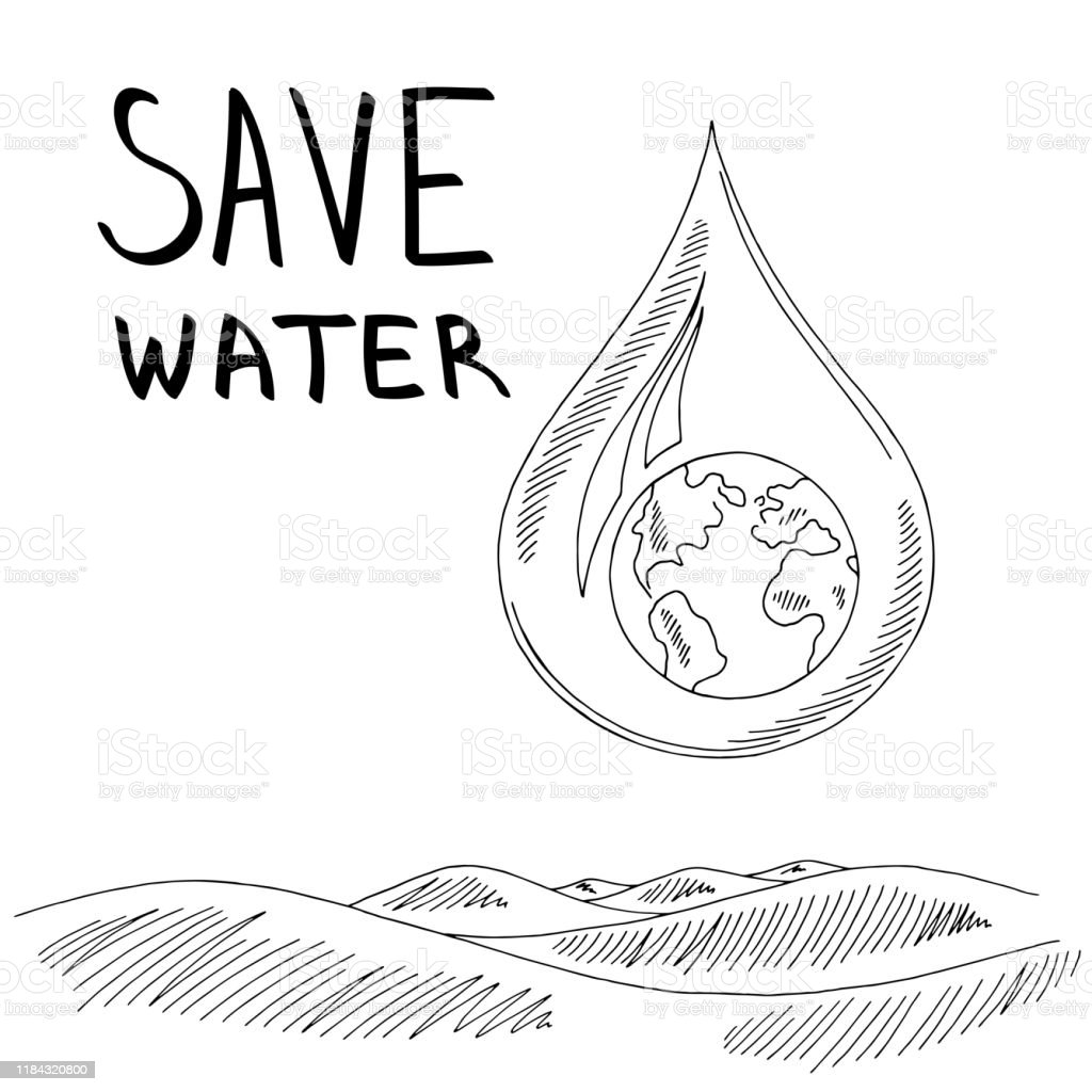 Water drop earth sea wave graphic ecology problem black white...