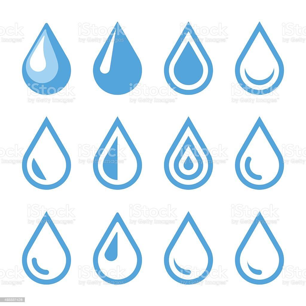 Emblema agua gota. Plantilla de logotipo. Icono de conjunto. Vector de - ilustración de arte vectorial