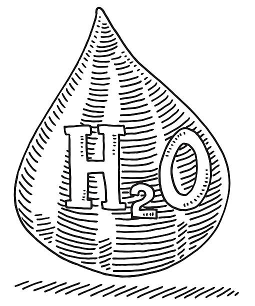 Water Drop H2O Text Drawing Hand-drawn vector drawing of a Water Drop with H2O Text. Black-and-White sketch on a transparent background (.eps-file). Included files are EPS (v10) and Hi-Res JPG. environment stock illustrations
