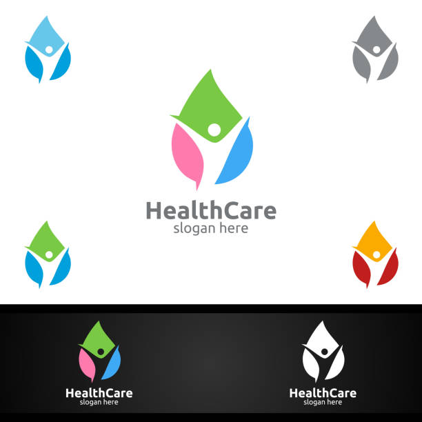 water drop health care medical symbol with human and leaf character - physical therapy stock illustrations