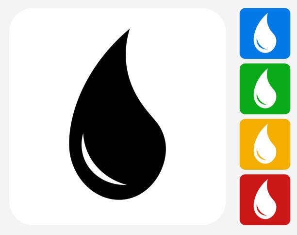 water drop icon flat graphic design - teardrop stock illustrations, clip art, cartoons, & icons