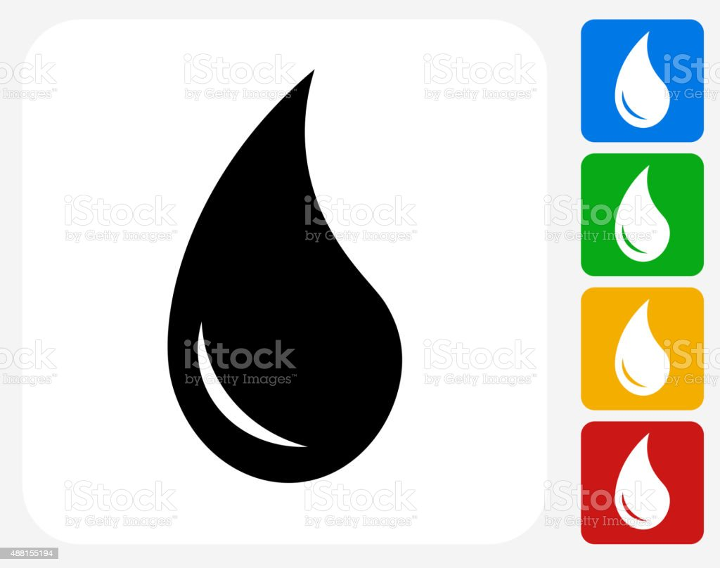 Water Drop Icon Flat Graphic Design vector art illustration