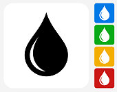 Water drop Icon. This 100% royalty free vector illustration features the main icon pictured in black inside a white square. The alternative color options in blue, green, yellow and red are on the right of the icon and are arranged in a vertical column.