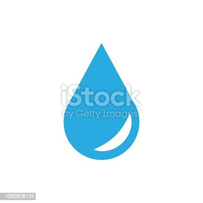 Water drop icon in flat style. Raindrop vector illustration on white isolated background. Droplet water blob business concept.