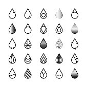 Water Drop Icon Line Series Vector EPS File.