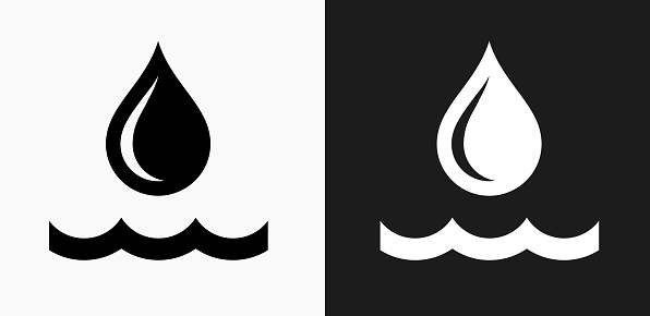 Water Drop Icon On Black And White Vector Backgrounds ...