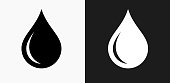 Water drop Icon on Black and White Vector Backgrounds