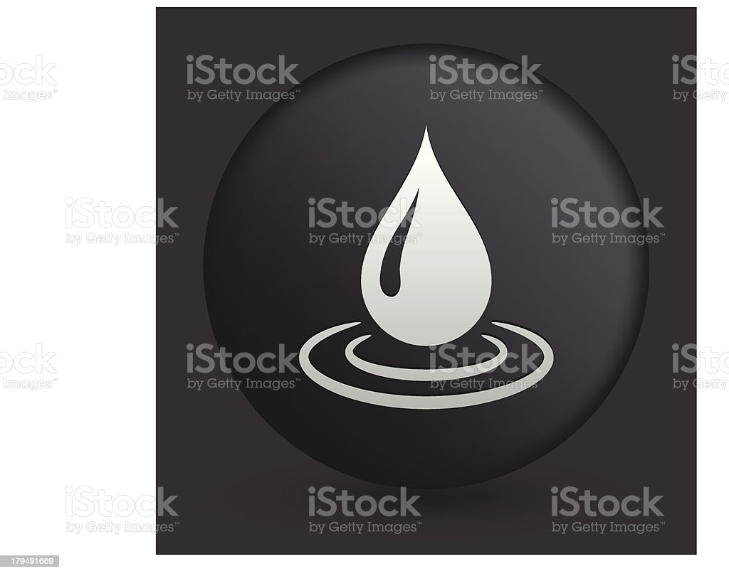 Water Drop Icon on Round Black Button royalty-free water drop icon on round black button stock vector art & more images of black and white