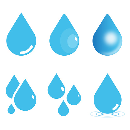 Water Drop Icon Set. Raindrop Vector Illustration on White Isolated Background. Flat and Gradient Style.