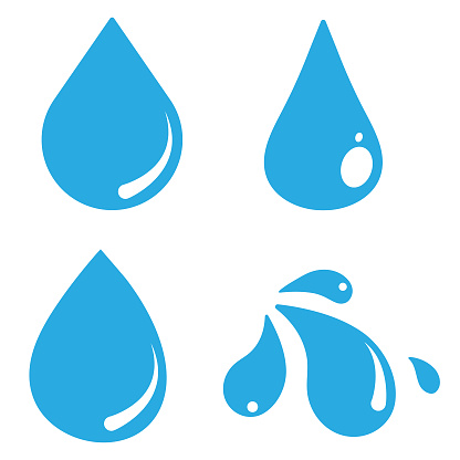 Water Drop Icon Set Vector Design on White Background.