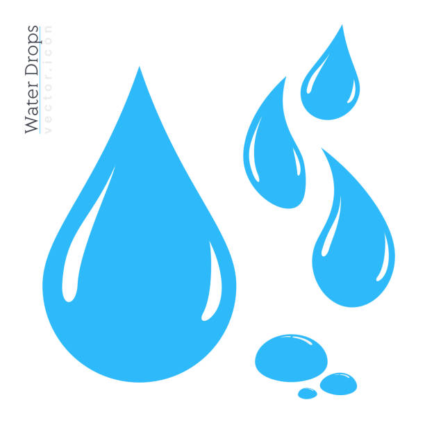 stockillustraties, clipart, cartoons en iconen met water drop icon set. vector regendruppel silhouet - druppel