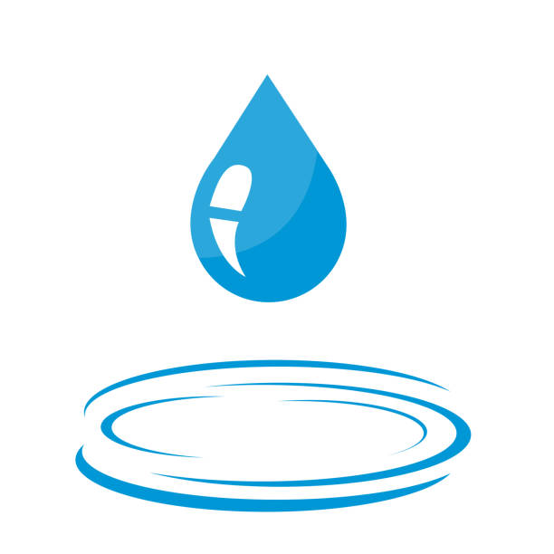 Water drop icon Water drop icon rippled stock illustrations