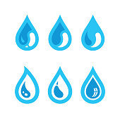 Water drop icons. Design elements isolated on white background.
